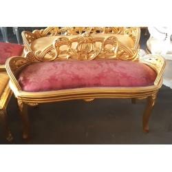 Divanetto ovale oro legno cuscino rosso fiori divano barocco