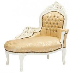 Dormeuse divano barocco bianca oro legno chaise longue