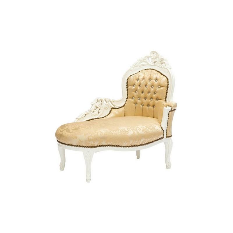 Dormeuse divano barocco bianca oro legno chaise longue for Divano barocco