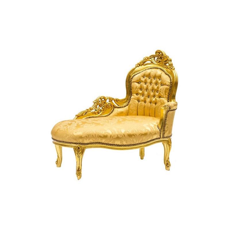 Dormeuse divano barocco oro gemme legno chaise longue for Divano barocco