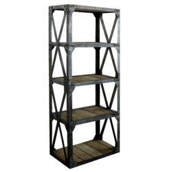 Libreria legno ferro 180cm etagere industrial vintage