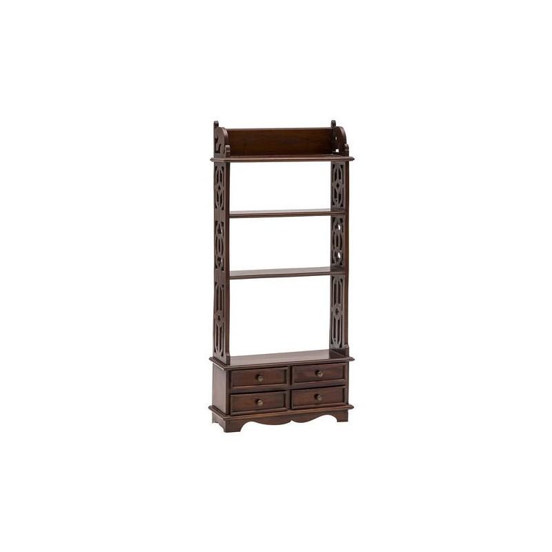 Libreria legno mogano 4 cassetti in legno salotto for Scaffali legno arredamento