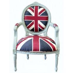 Poltrona divano barocco UK bandiera inglese bianco shabby