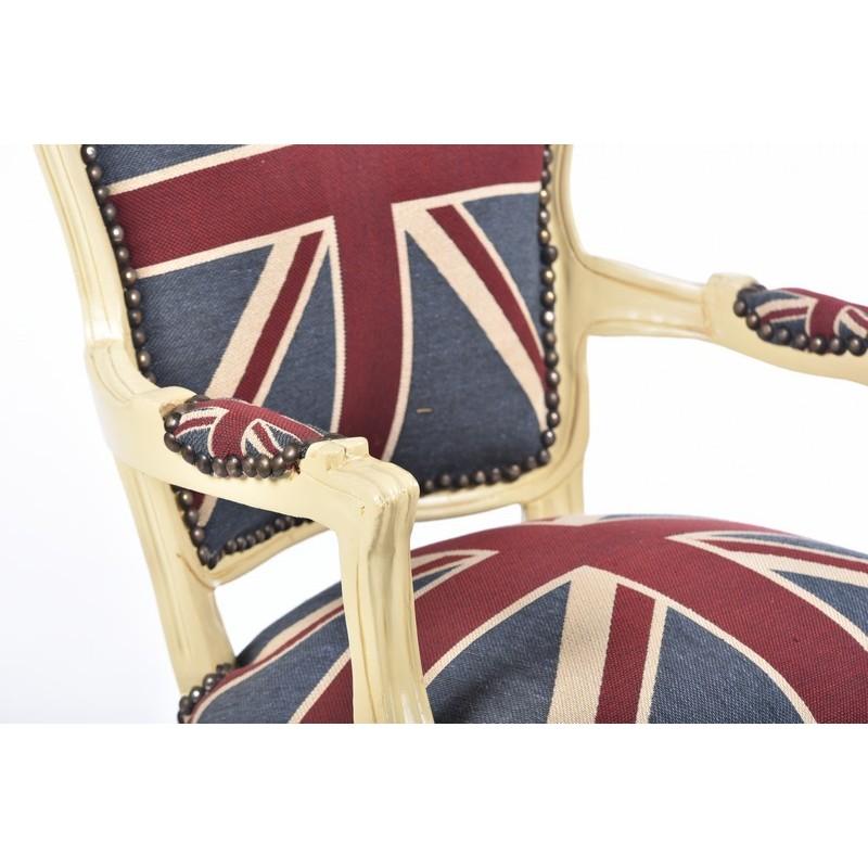 Poltrona divano barocco uk bandiera inglese bianco shabby for Divano in inglese