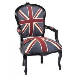Poltrona legno barocco nero tessuto bandiera inglese braccioli
