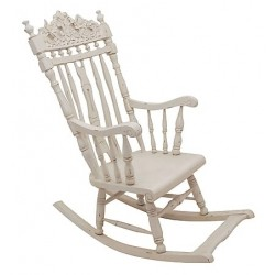Sedia a dondolo bianca shabby chic legno decorato
