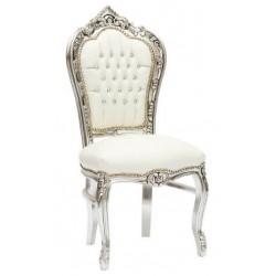 Sedia poltrona barocco Luigi XVI argento bianca legno gemme