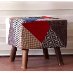 Pouf poggiapiedi quadrato tessuto patchwork legno