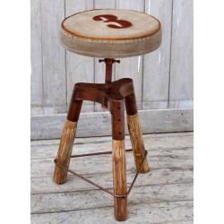 Sedia sgabello pub bar cucina industrial legno tessuto 60cm vintage