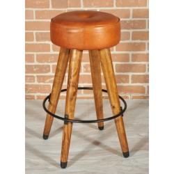 Sgabello cucina bar 67cm in legno pelle vintage design