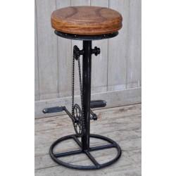 Sgabello sedia rotondo legno industrial 80cm modernariato bicicl