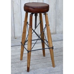 Sgabello sedia rotondo legno pelle industrial 84cm modernariato