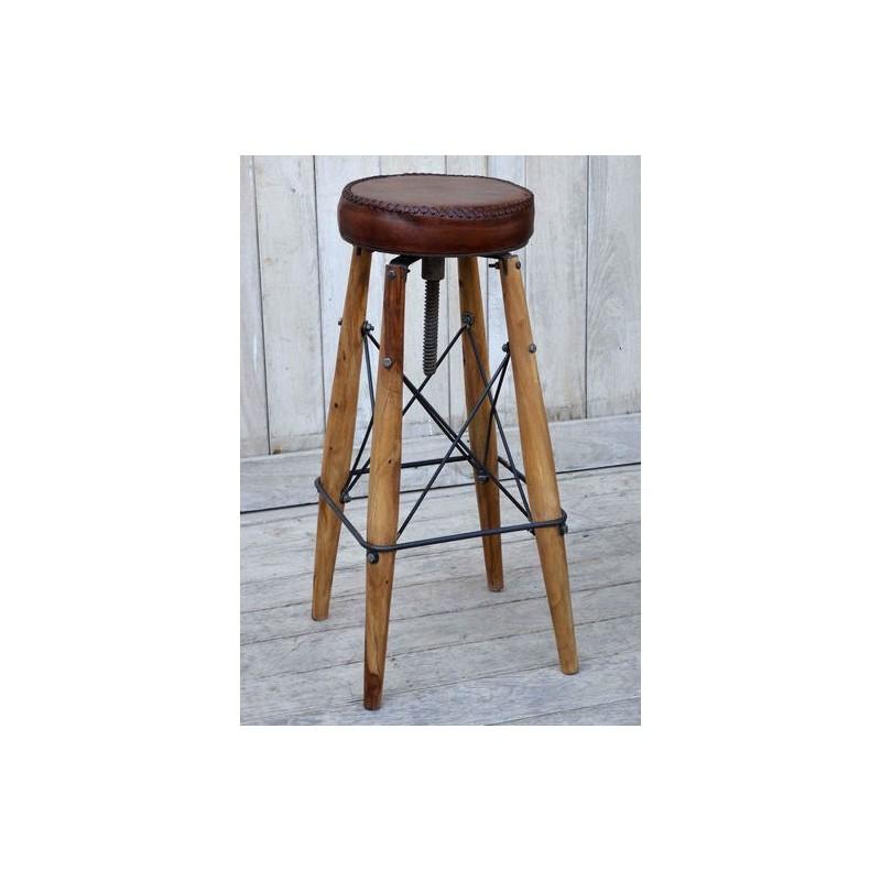 Sgabello sedia rotondo legno pelle industrial 84cm modernariato -  Virginia\'s Cottage