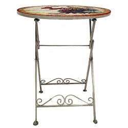 Tavolino tavolo ferro farfalle battuto giardino casa 60cm