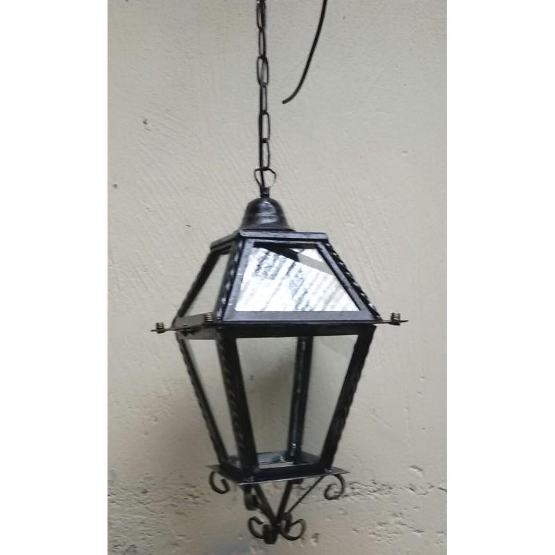 Lampadario lanterna doppia ferro battuto vetro catena - Lanterne da esterno in ferro battuto ...