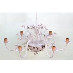 Lampadario shabby chic bianco 6 luci 103cm catena paralume