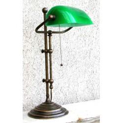 Lampada Ministeriale 52 cm ottone brunito verde illuminazione