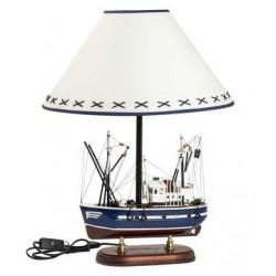Lampada 57cm base barca blu marrone bianco paralume tessuto