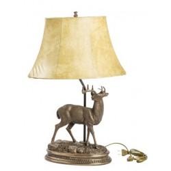 Lampada 70cm da tavolo paralume tessuto cervo country