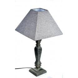 Lampada da tavolo 46cm legno paralume tessuto shabby chic tavolo