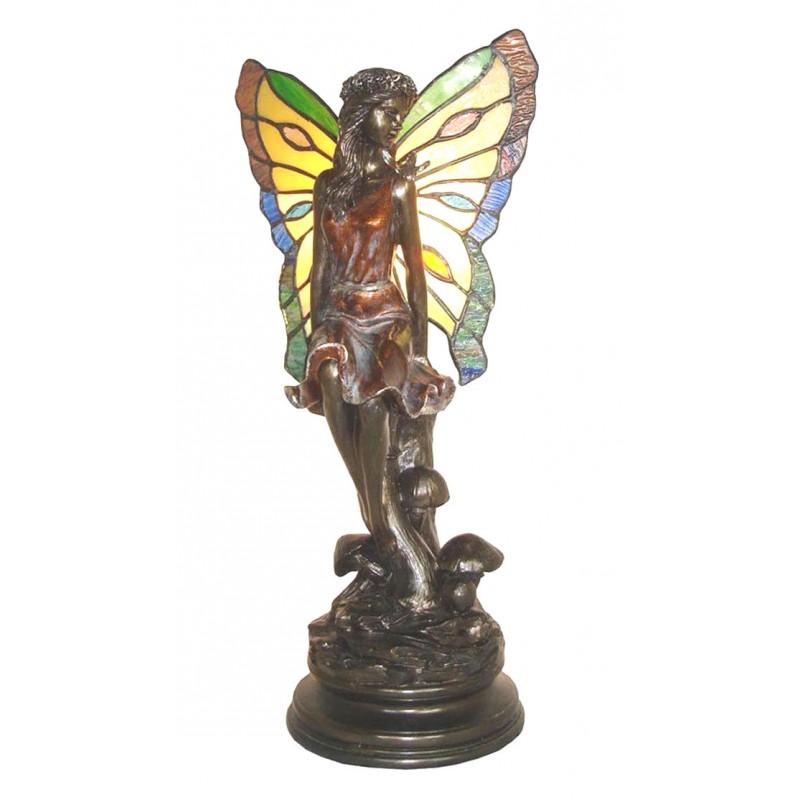 Lampada stile Tiffany da tavolo ali comodino fata farfalla ...