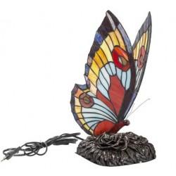 Lampada stile Tiffany da tavolo comodino farfalla azzurra