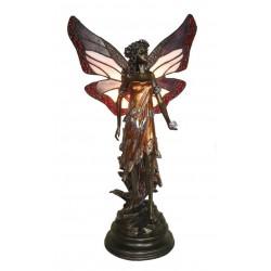 Lampada stile Tiffany Liberty da tavolo comodino fata farfalla rosa