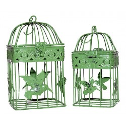 Coppia gabbie uccelli vintage 20cm Shabby quadre verdi