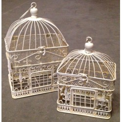 Coppia gabbie uccelli vintage 34cm Shabby Chic bianche rett.