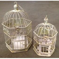 Coppia gabbie uccelli vintage 34cm Vintage bianche esagonali