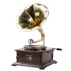 Grammofono funzionante quadrato vintage legno ottone