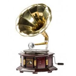 Grammofono funzionante vintage giradischi legno tromba ottone
