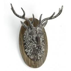 Testa di cervo da appendere muro parete ghisa legno camino