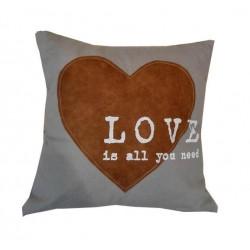 Cuscino divano arredo casa tessuto love cuore shabby chic