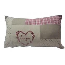 Cuscino divano letto arredo casa tessuto cuore shabby chic