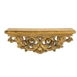 Mensola barocco 44cm resina dorata oro foglie vintage