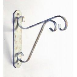 Mensola liberty ferro battuto supporto vasi gabbie shabby bianco