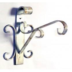 Mensola vintage ferro battuto supporto vasi gabbie shabby bianco