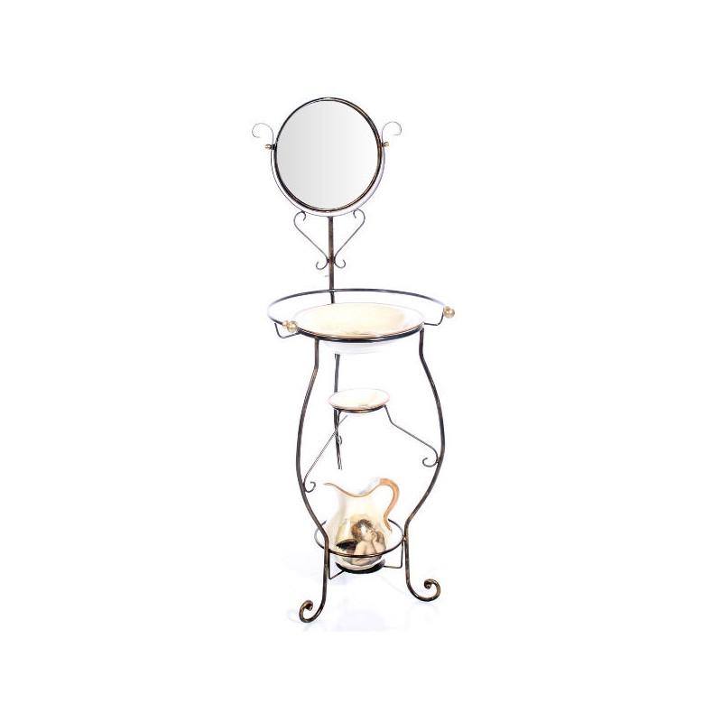 Portacatino ferro battuto barocco con specchio pomoli in for Specchio in ferro battuto