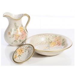 Set da toilette ceramica antichizzata vintage con catino brocca