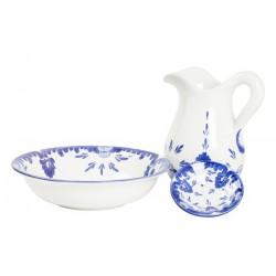 Set da toilette ceramica blu piattino vintage catino brocca