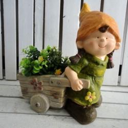 Bambina 42cm portafiori portavaso vaso fiori porta piante carriola