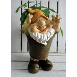 Gnomo 45cm portafiori cappello portavaso vaso fiori porta piante