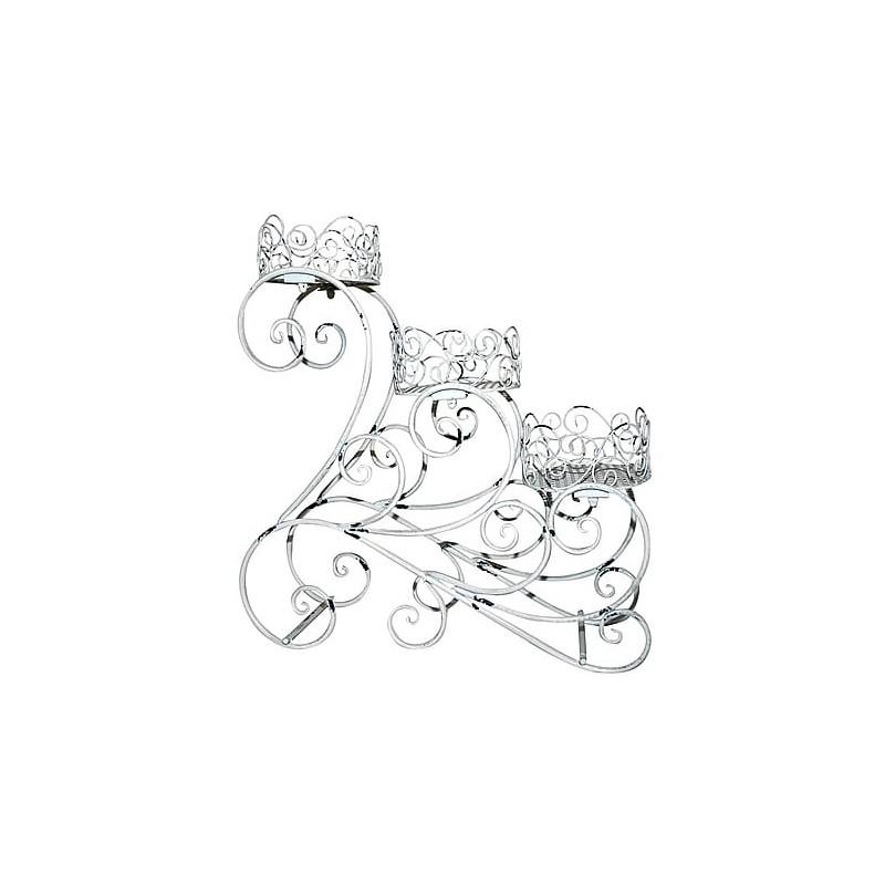 Scaletta portafiori portavasi fiori vasi ferro bianco 70cm for Portavasi a scaletta