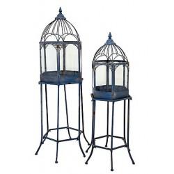 Coppia di serre vetro ferro azzurro portafiori vasi piante 120cm
