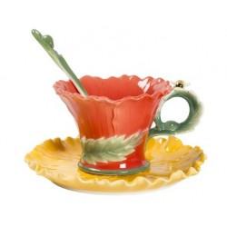 Tazzina tazza caffè fiore ape giallo piattino porcellana