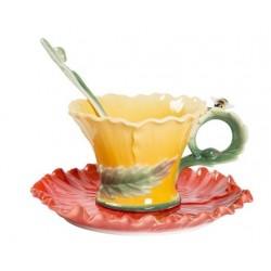 Tazzina tazza caffè fiore ape petali piattino porcellana