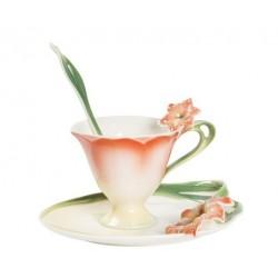 Tazzina tazza caffè fiore arancio piattino porcellana