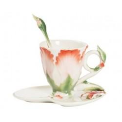 Tazzina tazza caffè fiore bianco verde piattino porcellana