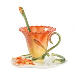 Tazzina tazza caffè fiore giallo arancio piattino porcellana